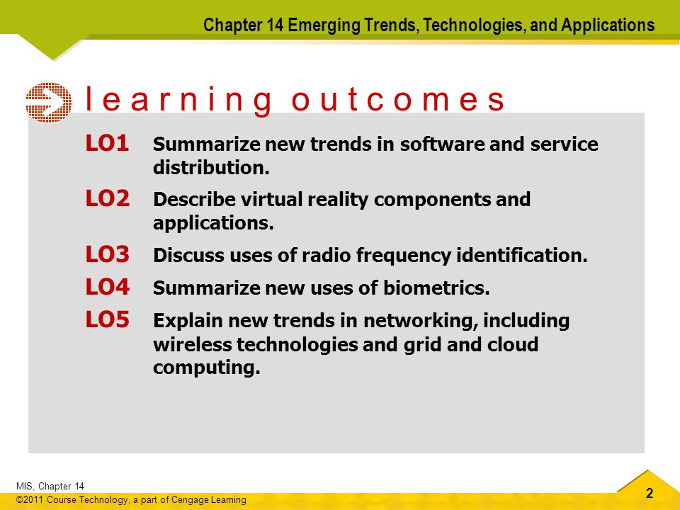 2 MIS, Chapter 14 ©2011 Course Technology, a part of Cengage Learning Chapter 14 Emerging Trends, Technologies, and Applications LO1 Summarize new trends in software and service distribution.
