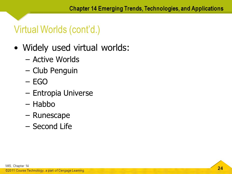 24 MIS, Chapter 14 ©2011 Course Technology, a part of Cengage Learning Chapter 14 Emerging Trends, Technologies, and Applications Virtual Worlds (cont'd.) Widely used virtual worlds: –Active Worlds –Club Penguin –EGO –Entropia Universe –Habbo –Runescape –Second Life