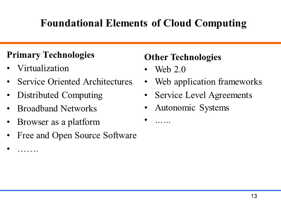 13 Foundational Elements of Cloud Computing Primary Technologies Virtualization Service Oriented Architectures Distributed Computing Broadband Network
