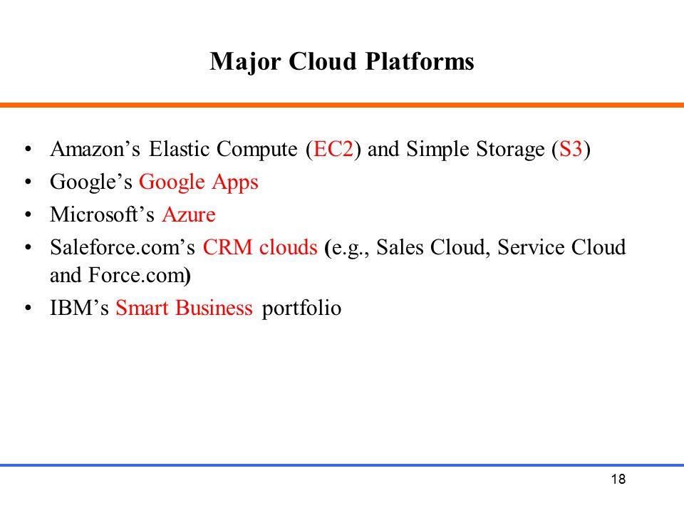 18 Major Cloud Platforms Amazon's Elastic Compute (EC2) and Simple Storage (S3) Google's Google Apps Microsoft's Azure Saleforce.com's CRM clouds (e.g