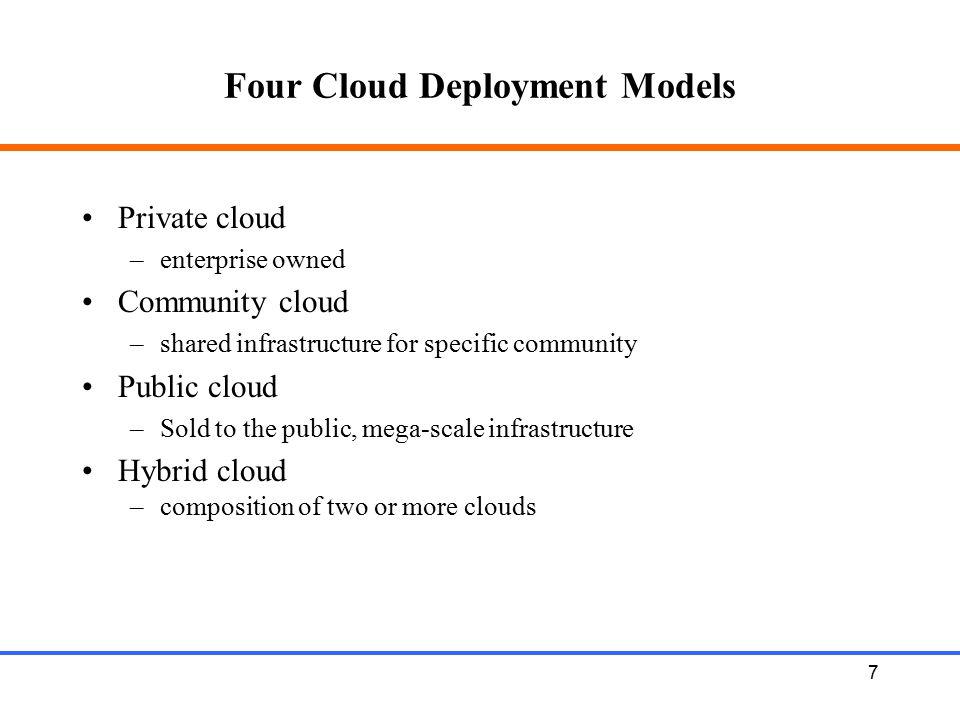 18 Major Cloud Platforms Amazon's Elastic Compute (EC2) and Simple Storage (S3) Google's Google Apps Microsoft's Azure Saleforce.com's CRM clouds (e.g., Sales Cloud, Service Cloud and Force.com) IBM's Smart Business portfolio