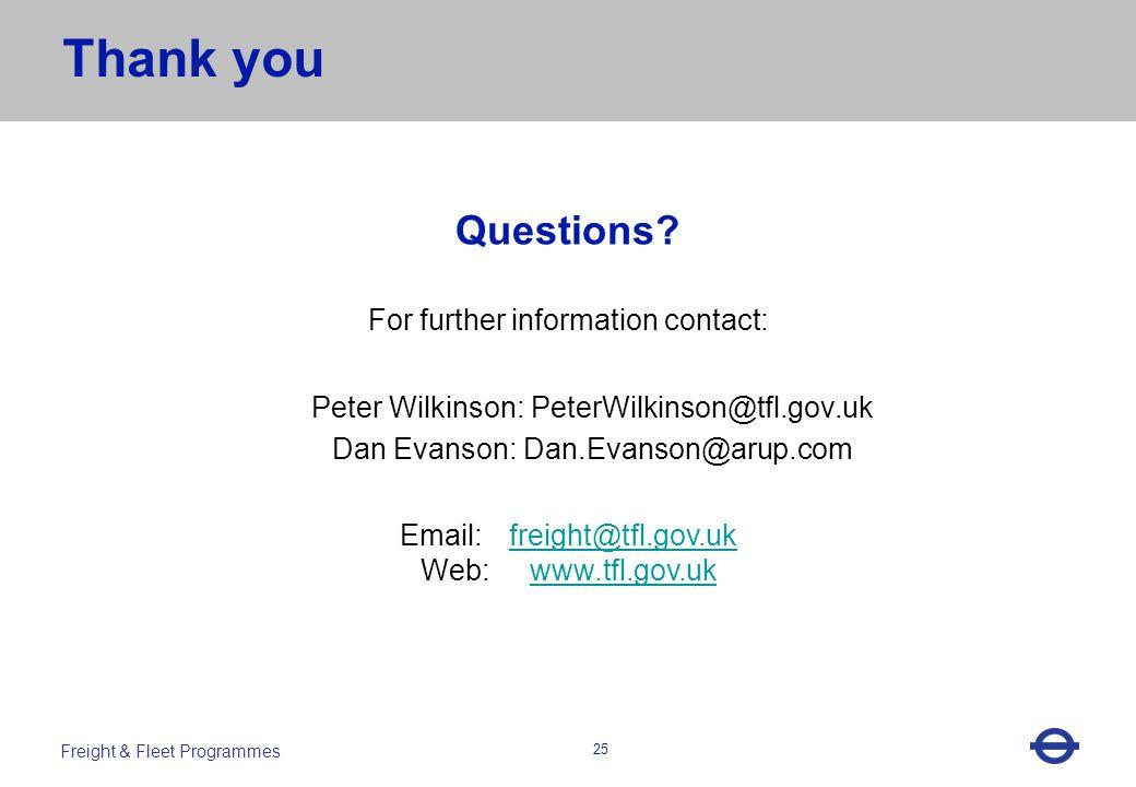 Heading 25 Freight & Fleet Programmes Questions.