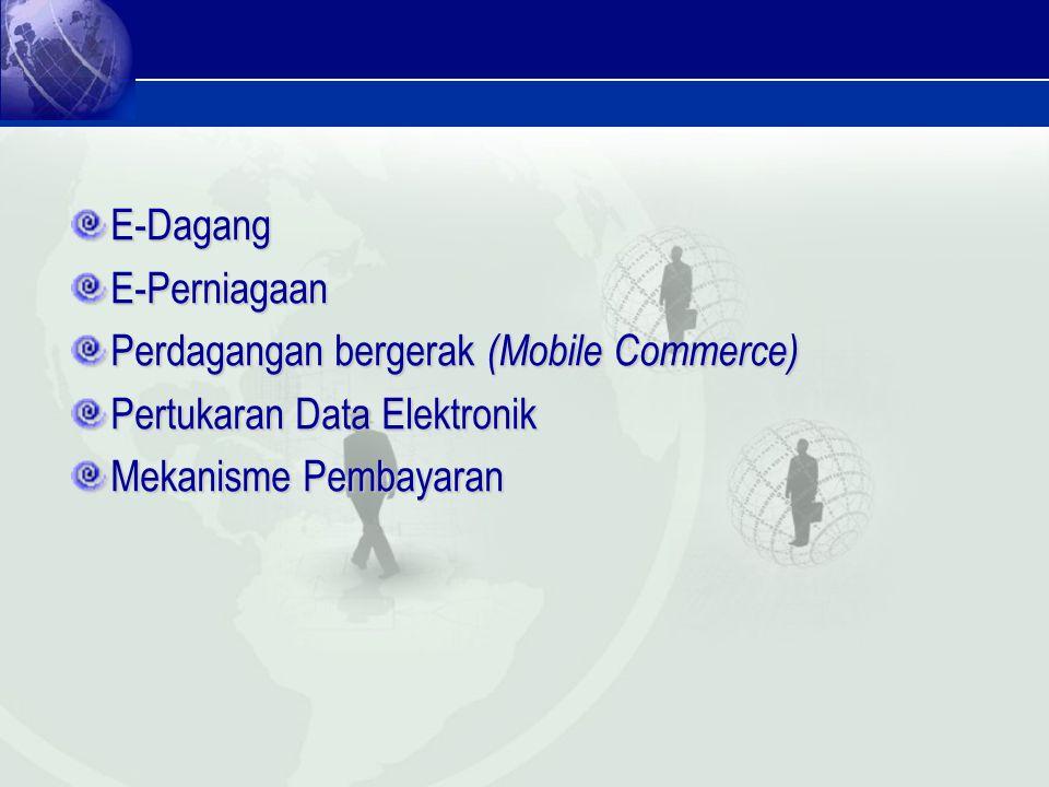 E-DagangE-Perniagaan Perdagangan bergerak (Mobile Commerce) Pertukaran Data Elektronik Mekanisme Pembayaran