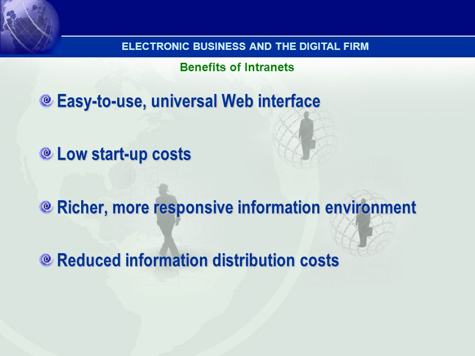 Easy-to-use, universal Web interface Low start-up costs Richer, more responsive information environment Reduced information distribution costs Benefit