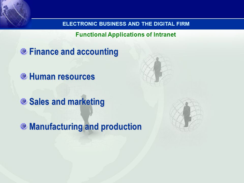 Finance and accounting Human resources Sales and marketing Manufacturing and production Functional Applications of Intranet ELECTRONIC BUSINESS AND TH