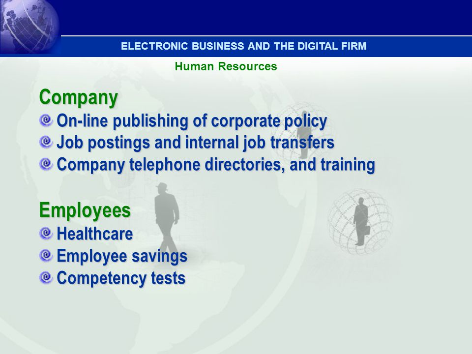 Human Resources Company On-line publishing of corporate policy Job postings and internal job transfers Company telephone directories, and training Emp