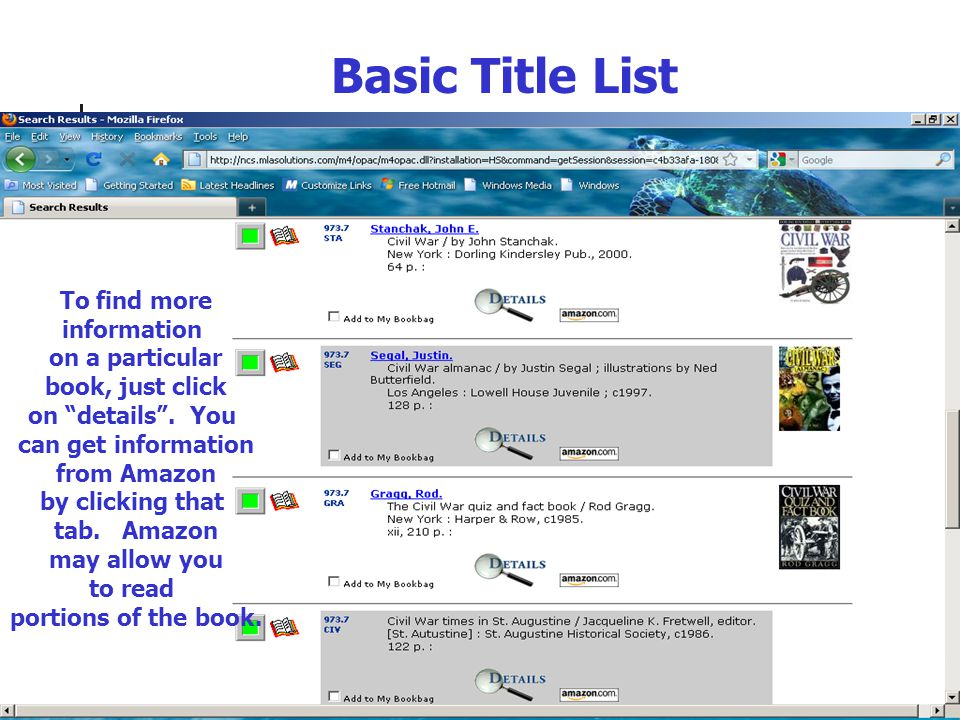 Details Details include the summary, reviews, and searchable links marked in blue.