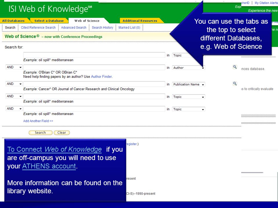 The main simple search page for Web of Knowledge (WoK) You can use the tabs as the top to select different Databases, e.g.