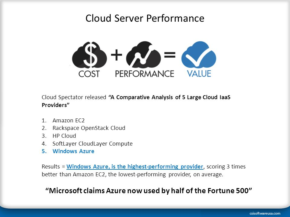 Cloud Spectator released A Comparative Analysis of 5 Large Cloud IaaS Providers 1.Amazon EC2 2.Rackspace OpenStack Cloud 3.HP Cloud 4.SoftLayer CloudLayer Compute 5.Windows Azure Results = Windows Azure, is the highest-performing provider, scoring 3 times better than Amazon EC2, the lowest-performing provider, on average.