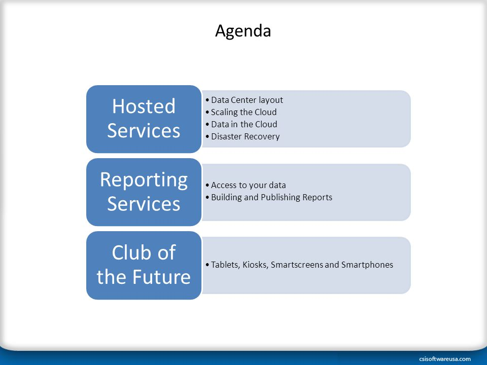 Agenda Data Center layout Scaling the Cloud Data in the Cloud Disaster Recovery Hosted Services Access to your data Building and Publishing Reports Reporting Services Tablets, Kiosks, Smartscreens and Smartphones Club of the Future