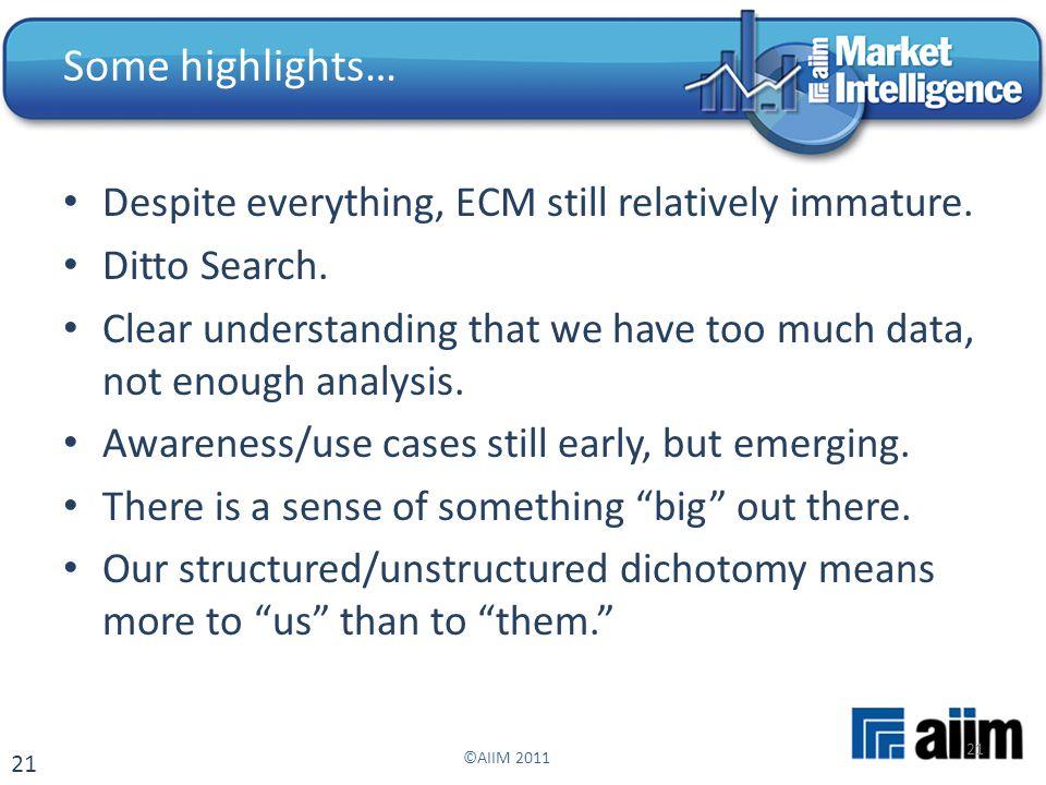21 Despite everything, ECM still relatively immature.