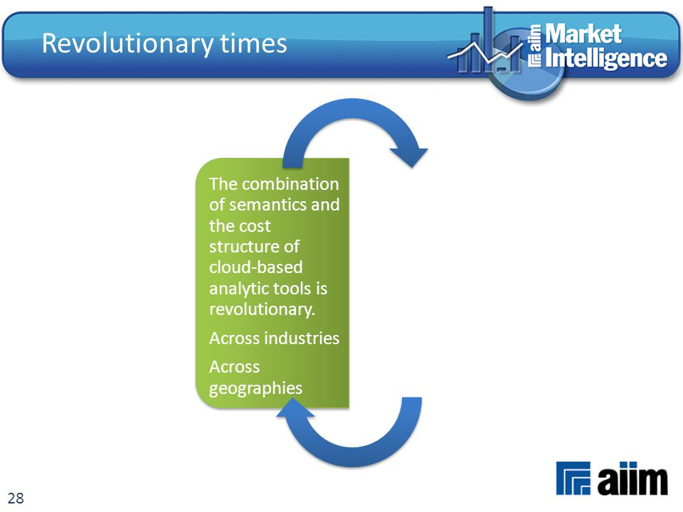 28 The combination of semantics and the cost structure of cloud-based analytic tools is revolutionary. Across industries Across geographies Revolution