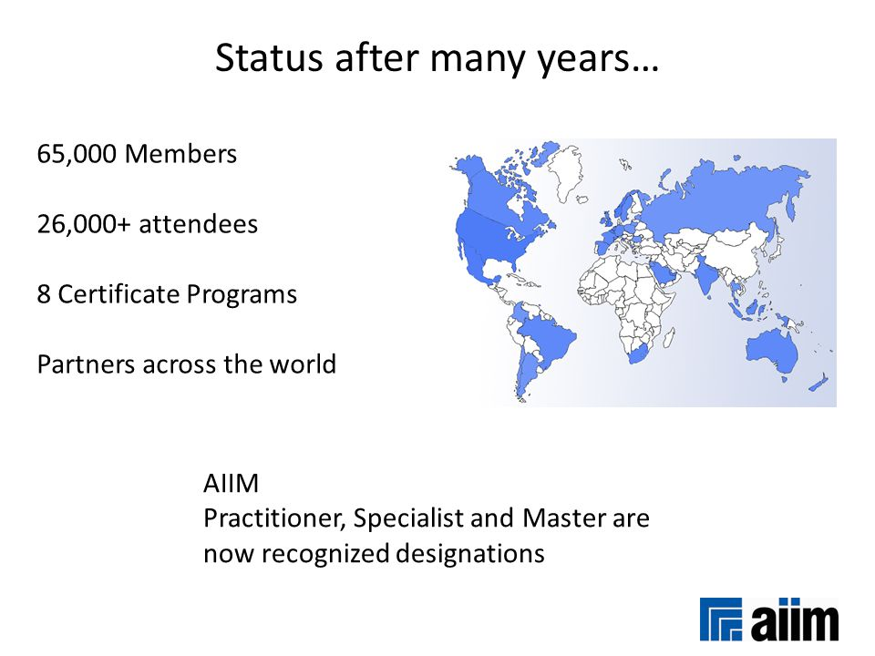 Status after many years… 65,000 Members 26,000+ attendees 8 Certificate Programs Partners across the world AIIM Practitioner, Specialist and Master ar