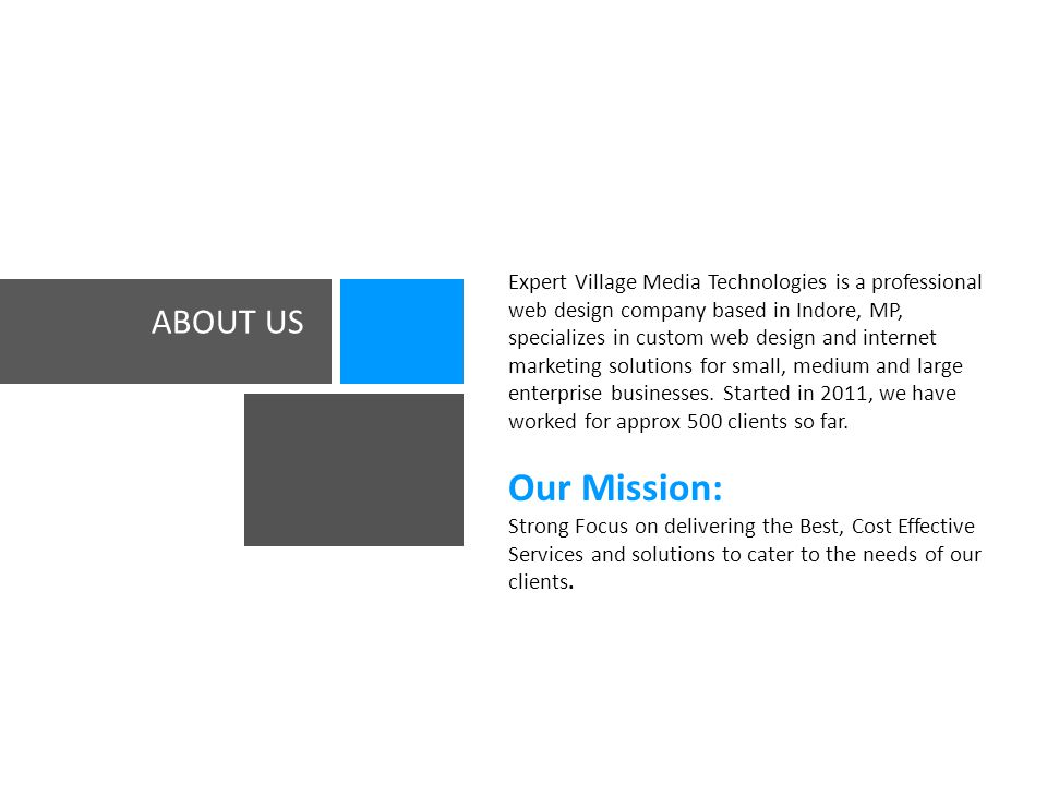 ABOUT US Expert Village Media Technologies is a professional web design company based in Indore, MP, specializes in custom web design and internet marketing solutions for small, medium and large enterprise businesses.