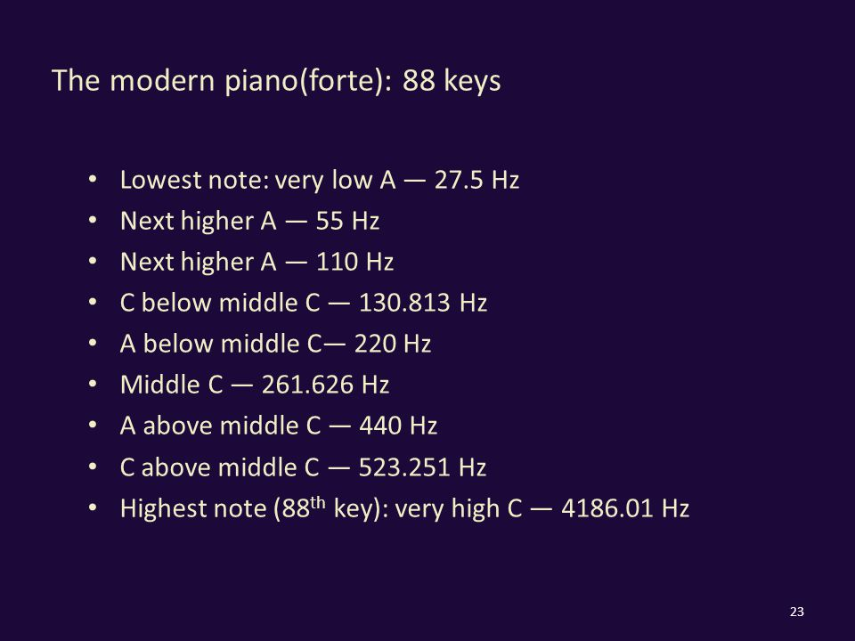 The modern piano(forte): 88 keys Lowest note: very low A — 27.5 Hz Next higher A — 55 Hz Next higher A — 110 Hz C below middle C — 130.813 Hz A below middle C— 220 Hz Middle C — 261.626 Hz A above middle C — 440 Hz C above middle C — 523.251 Hz Highest note (88 th key): very high C — 4186.01 Hz 23