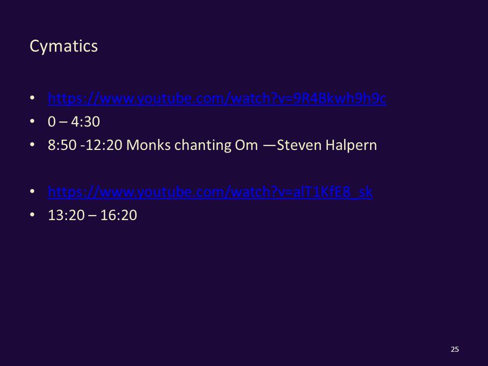 Cymatics https://www.youtube.com/watch v=9R4Bkwh9h9c 0 – 4:30 8:50 -12:20 Monks chanting Om —Steven Halpern https://www.youtube.com/watch v=alT1KfE8_sk 13:20 – 16:20 25