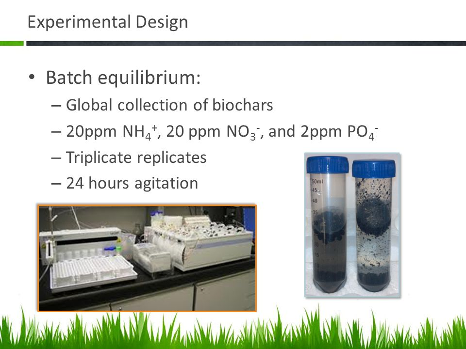 Experimental Design Batch equilibrium: – Global collection of biochars – 20ppm NH 4 +, 20 ppm NO 3 -, and 2ppm PO 4 - – Triplicate replicates – 24 hours agitation