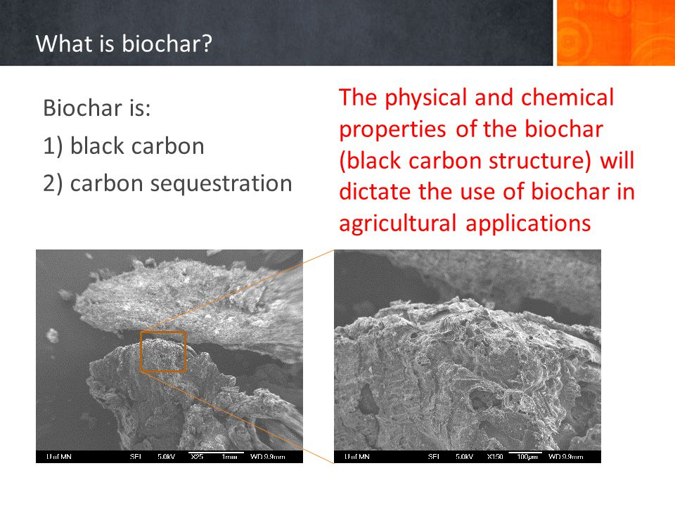 What is biochar? Biochar is: 1) black carbon 2) carbon sequestration The physical and chemical properties of the biochar (black carbon structure) will