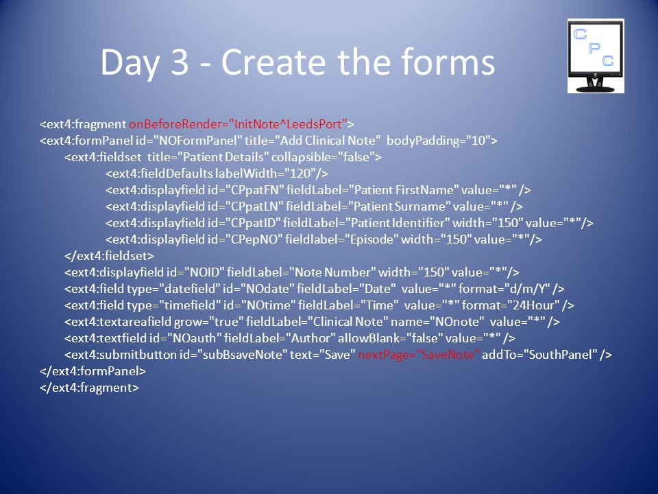Day 3 - Create the forms
