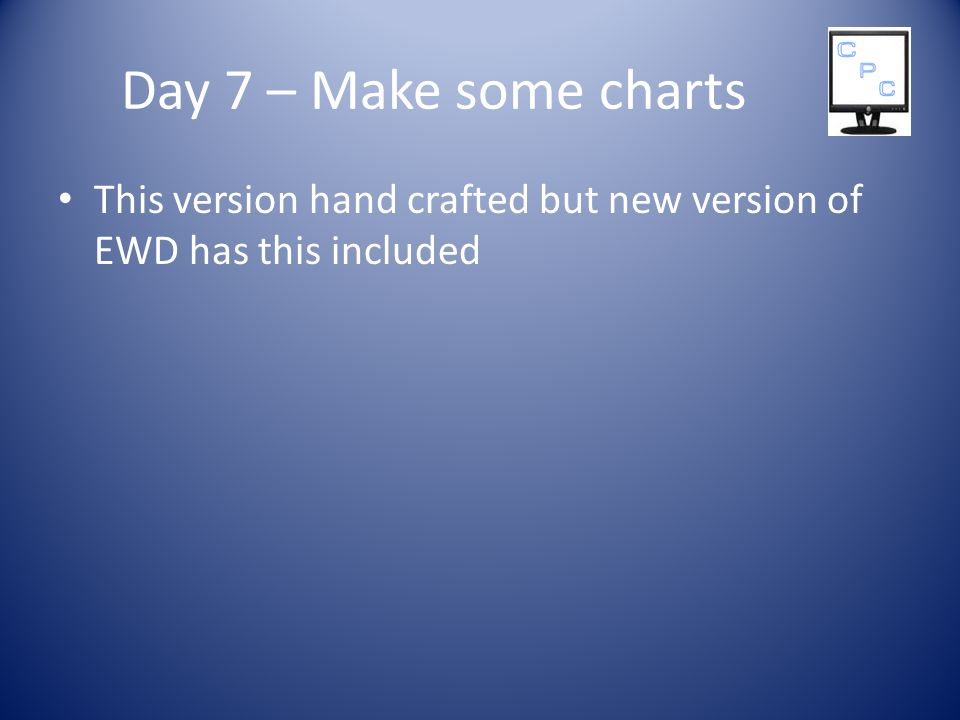 Day 7 – Make some charts This version hand crafted but new version of EWD has this included
