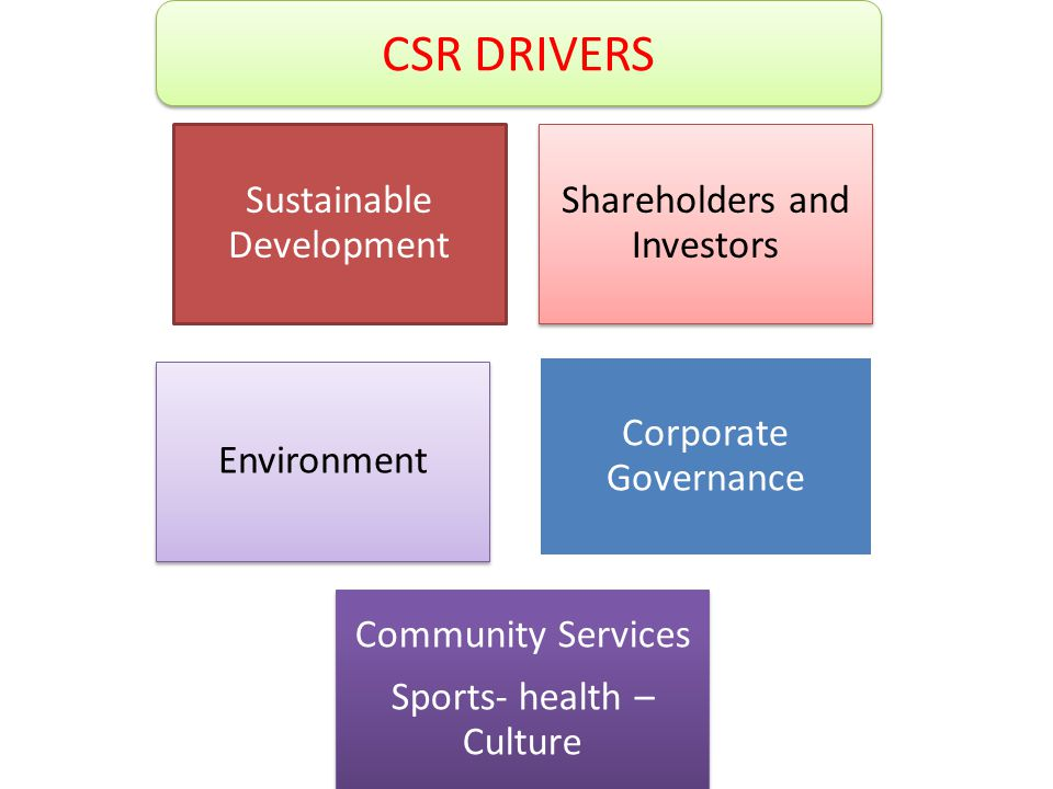 Sustainable Development Shareholders and Investors Environment Corporate Governance Community Services Sports- health – Culture CSR DRIVERS