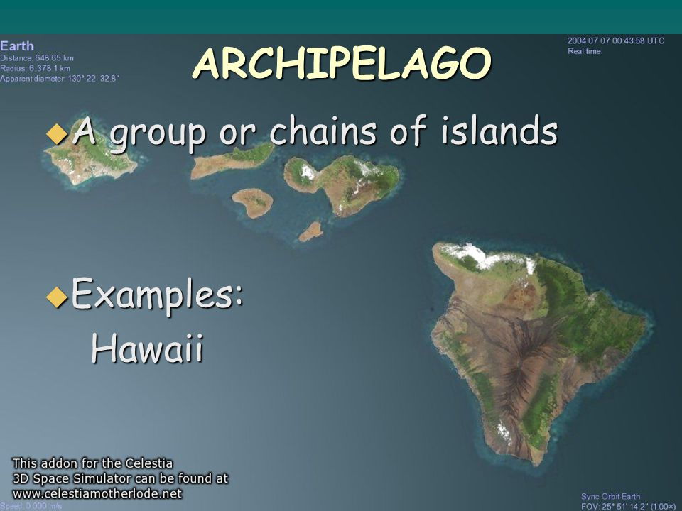 ARCHIPELAGO  A group or chains of islands  Examples: Hawaii Hawaii