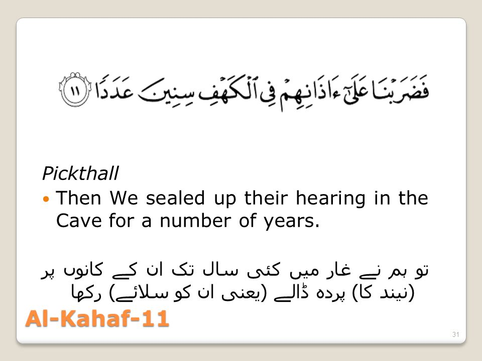 Al-Kahaf-11 Pickthall Then We sealed up their hearing in the Cave for a number of years. تو ہم نے غار میں کئی سال تک ان کے کانوں پر ( نیند کا ) پردہ ڈ