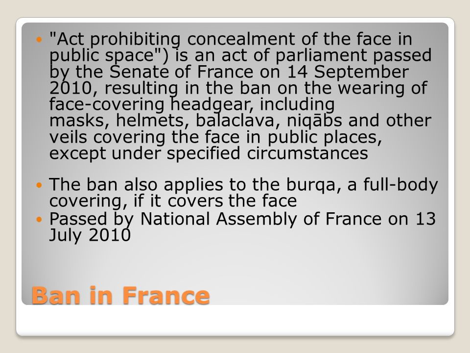 Ban in France