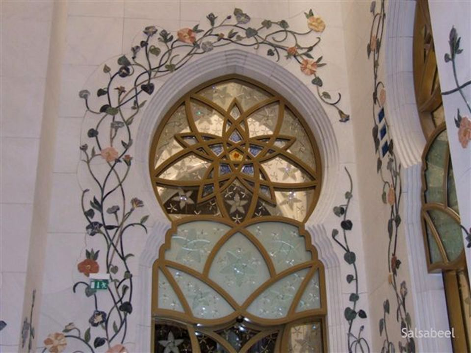 The domes and interior decoration are made of white marble.