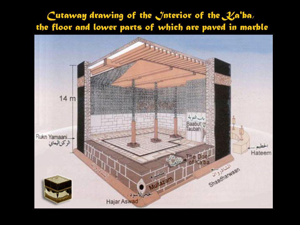 with pilgrims performing Tawaf = walking around the Ka'ba.