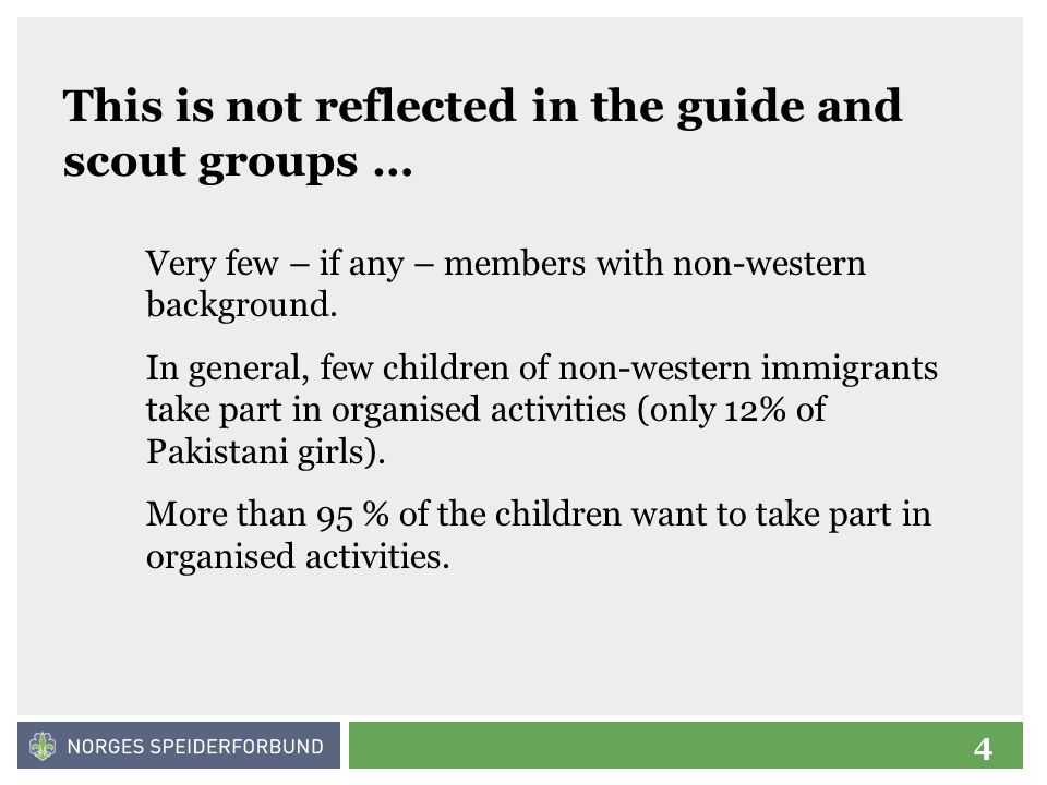 5 The guides and scouts of Oslo wanted to thange this … A few Oslo groups have worked towards integration of non-western youths and adults in their activities since 2000.
