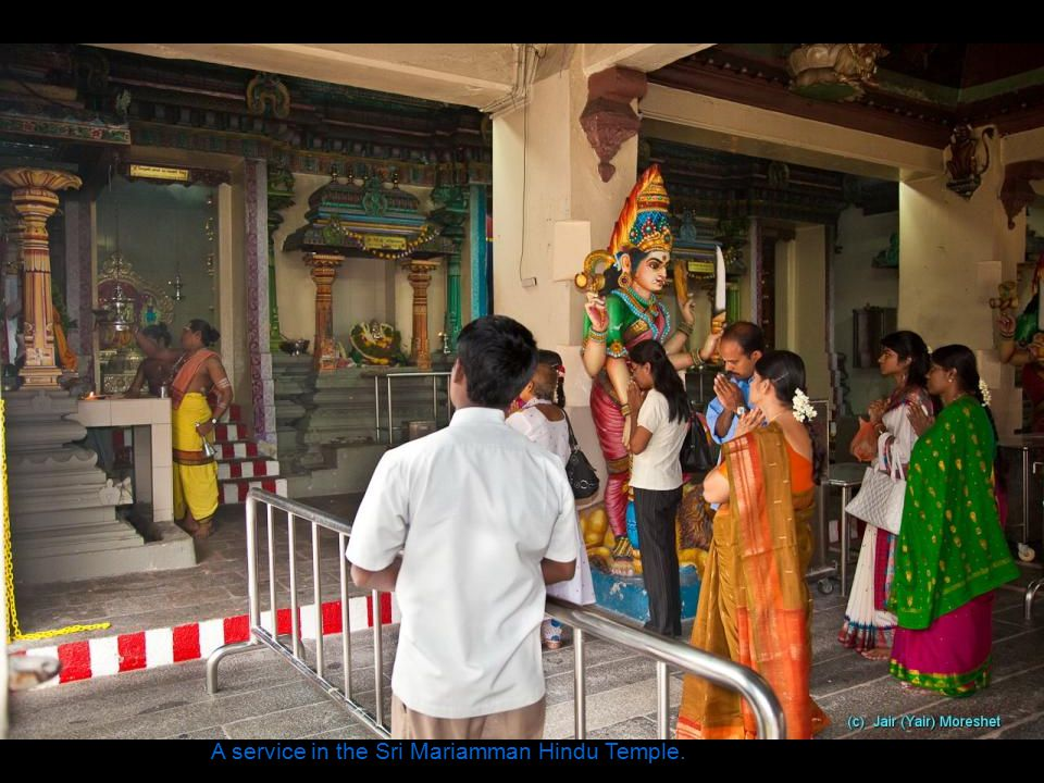 The entrance for weddings at the Sri Mariamman Hindu Temple, Singapore s oldest, located in Chinatown.