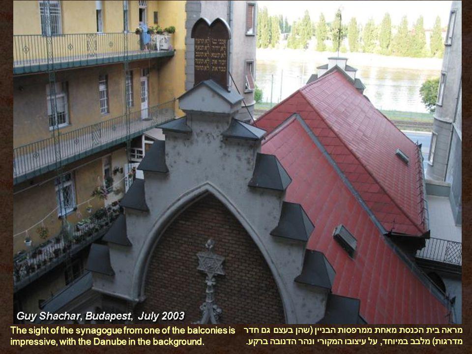מראה בית הכנסת מאחת ממרפסות הבניין (שהן בעצם גם חדר מדרגות) מלבב במיוחד, על עיצובו המקורי ונהר הדנובה ברקע.