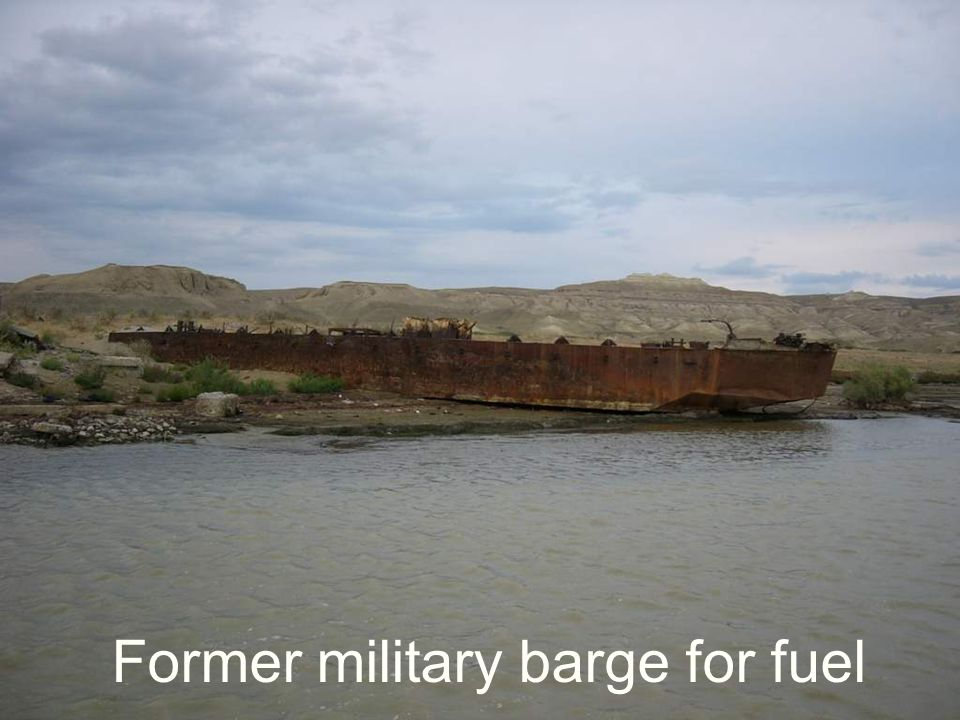 Former military barge for fuel