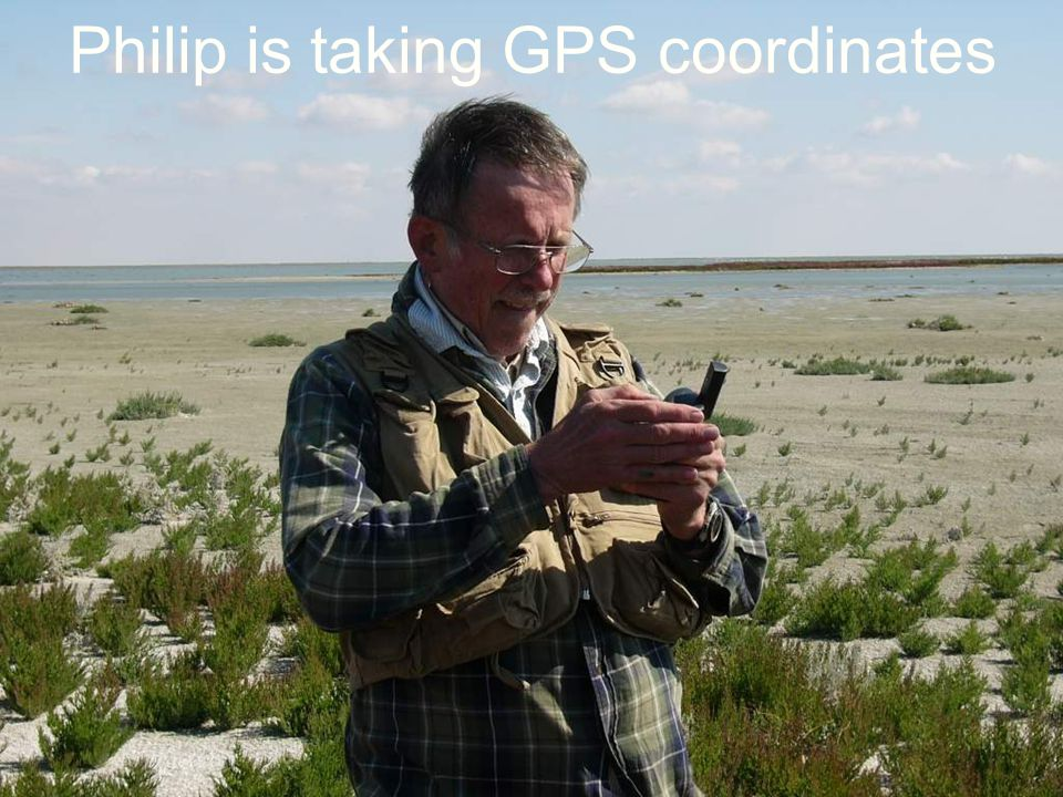 Philip is taking GPS coordinates