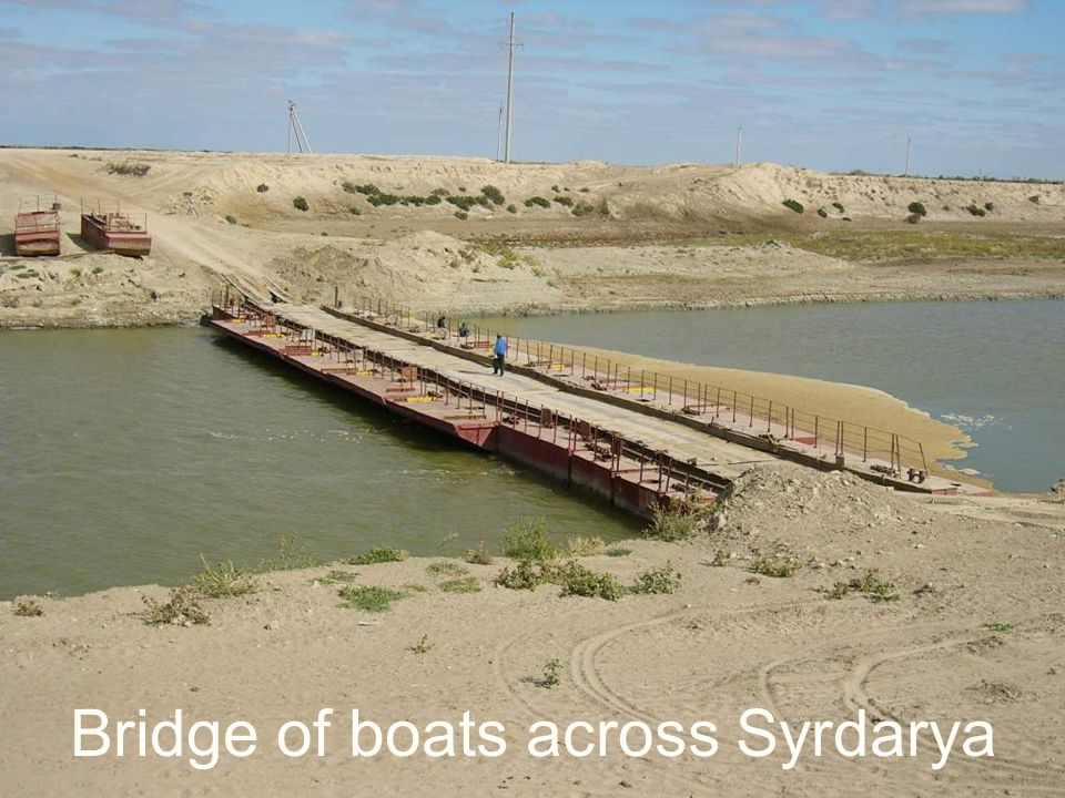 Bridge of boats across Syrdarya