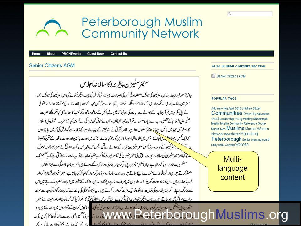 www.PeterboroughMuslims.org Multi- language content