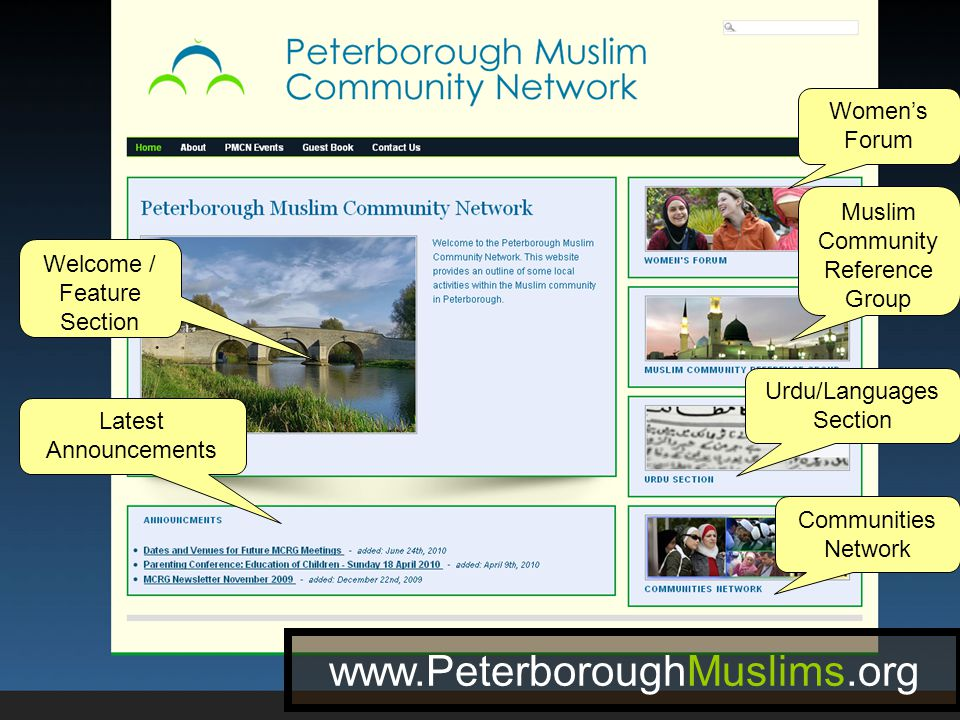Welcome / Feature Section Latest Announcements Women's Forum Muslim Community Reference Group Urdu/Languages Section Communities Network