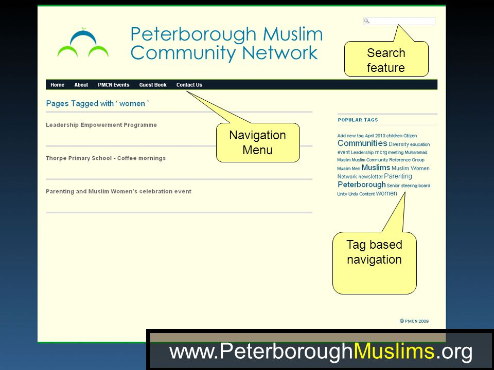 www.PeterboroughMuslims.org Tag based navigation Search feature Navigation Menu