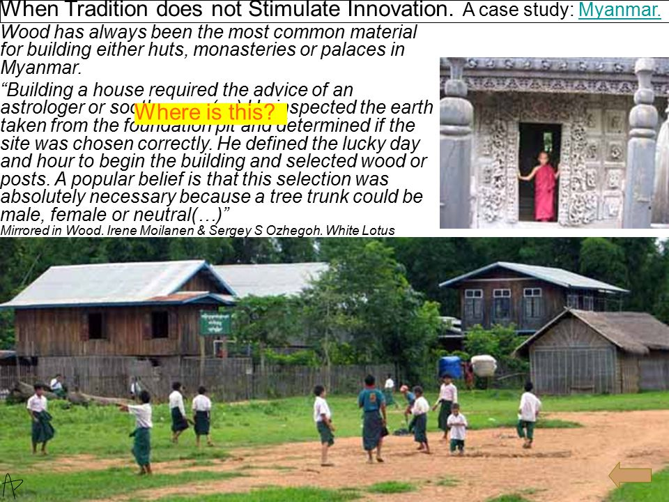When Tradition does not Stimulate Innovation.A case study: Myanmar.Myanmar.