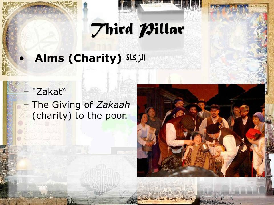 Third Pillar Alms (Charity) الزكاة – Zakat –The Giving of Zakaah (charity) to the poor.