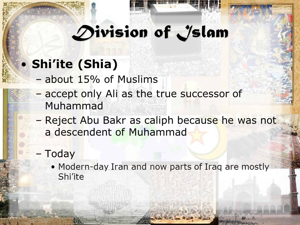 Division of Islam Shi'ite (Shia) –about 15% of Muslims –accept only Ali as the true successor of Muhammad –Reject Abu Bakr as caliph because he was not a descendent of Muhammad –Today Modern-day Iran and now parts of Iraq are mostly Shi'ite