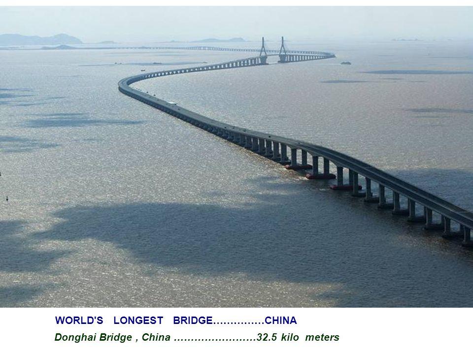 WORLD S LONGEST BRIDGE……………CHINA Donghai Bridge, China ……………………32.5 kilo meters