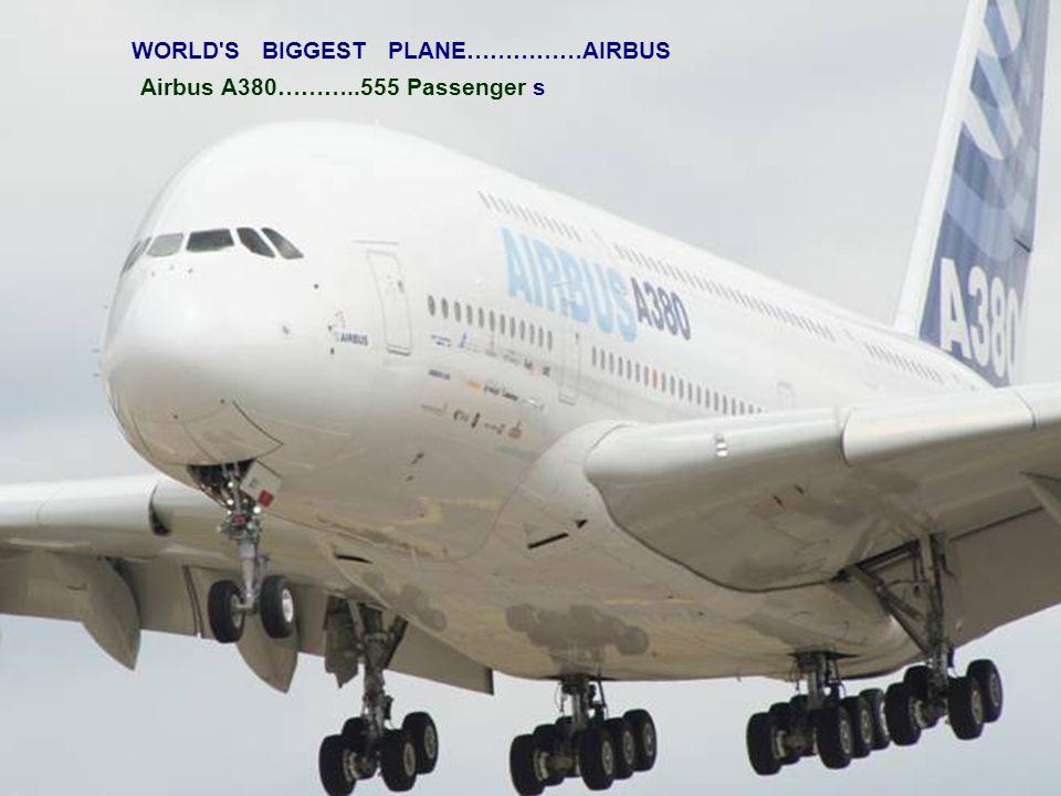 WORLD S BIGGEST PLANE……………AIRBUS Airbus A380………..555 Passenger s