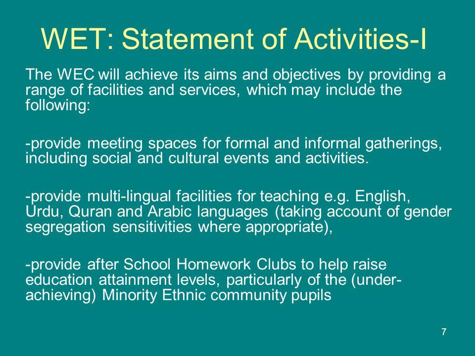 8 WET: Statement of Activities-II Contd..