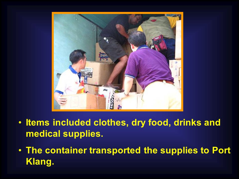 Items included clothes, dry food, drinks and medical supplies.