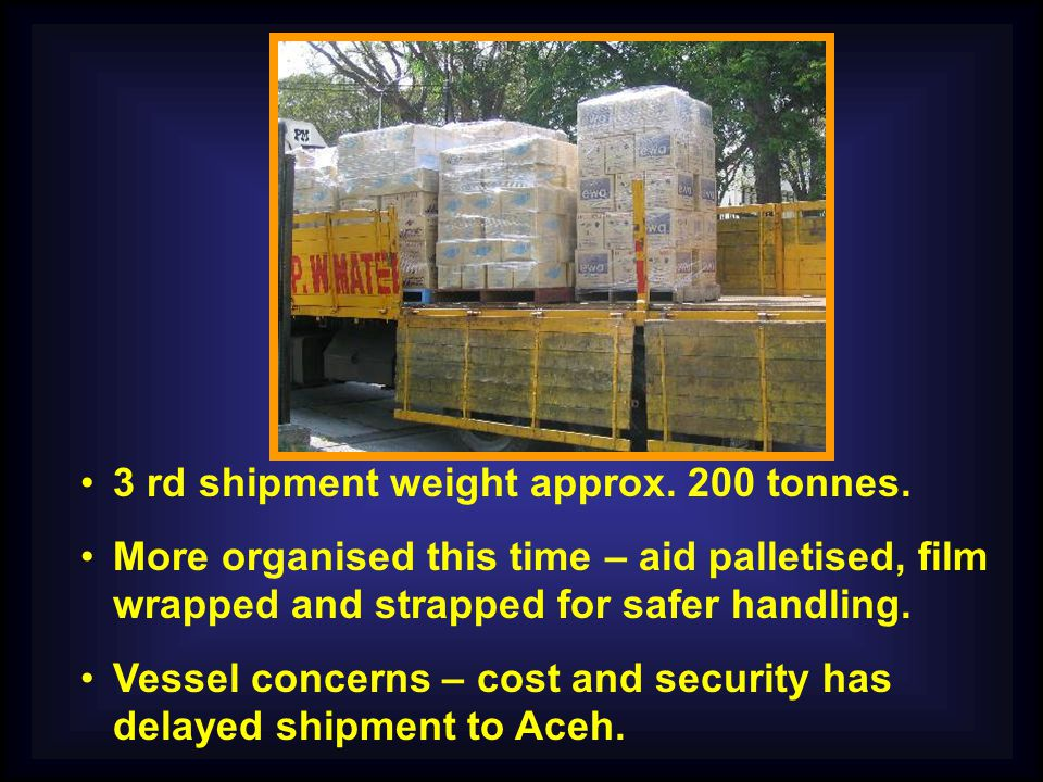 3 rd shipment weight approx. 200 tonnes.