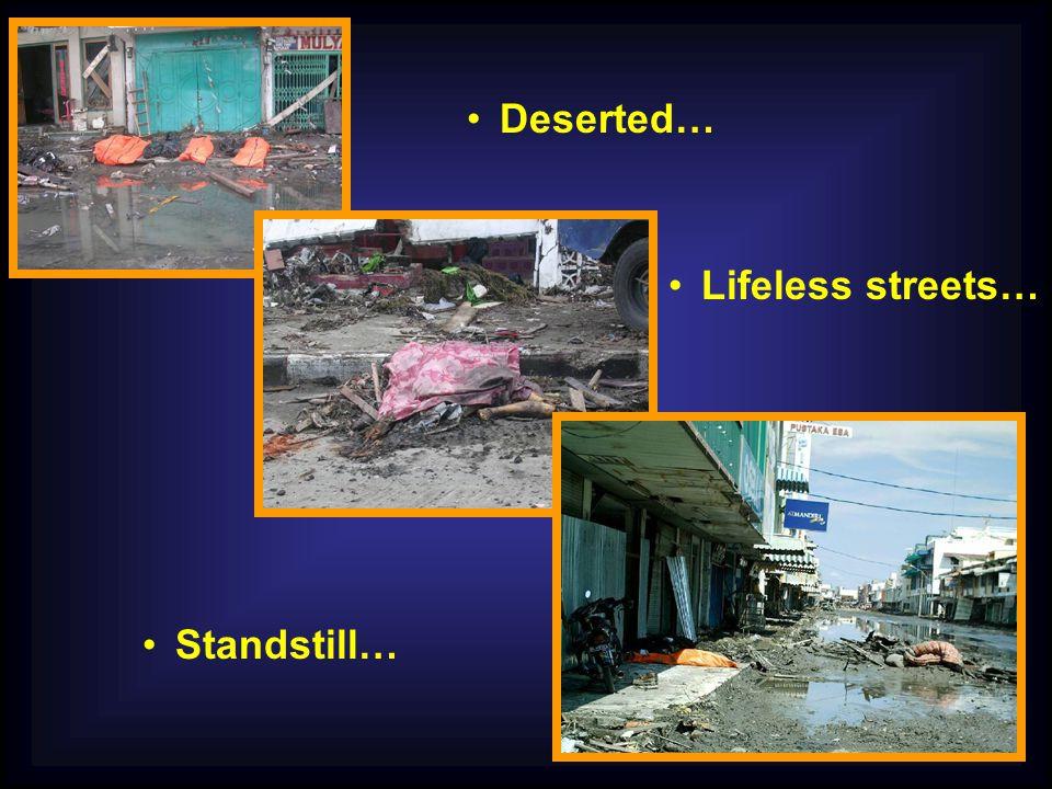 Lifeless streets… Standstill… Deserted…