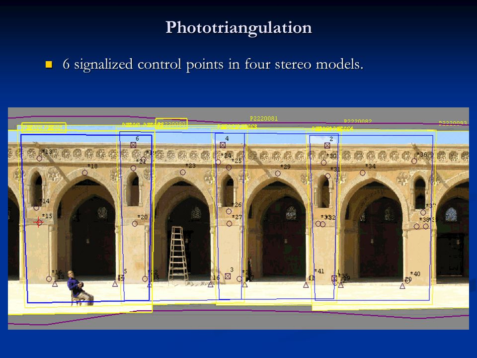 Phototriangulation 6 signalized control points in four stereo models.