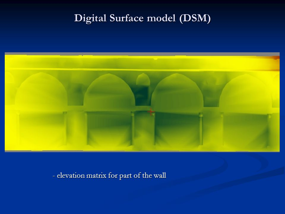 Digital Surface model (DSM) - elevation matrix for part of the wall - elevation matrix for part of the wall